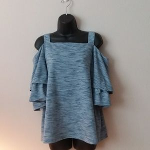 Blue chico's cold shoulder top